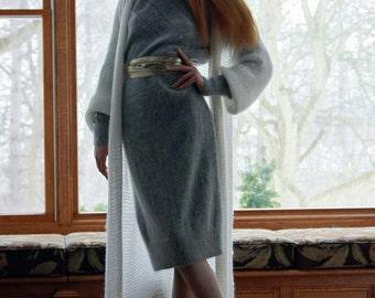 "Super long (60"") loose woman cardigan/ off white knit cardigan/ angora & mohair cardigan/ chunky knitting/one size"