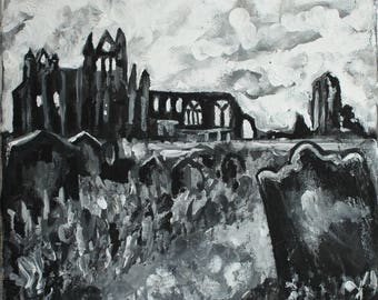 Black and White Whitby Abbey Photo Print of Acrylic Painting