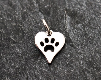 Sterling Silver Paw Print Charm, Heart Shaped, Tiny