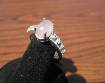 Rose Quartz (8x6mm) Stone Cabochon Sterling Silver Ring with White Topaz Accents Size 7.25, No. 1477.