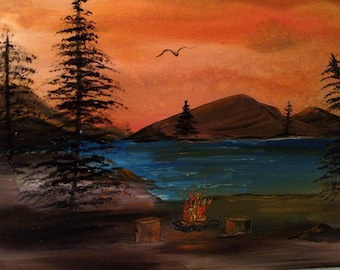 Campfire at the lake sunset 18 x 24 oil on canvas