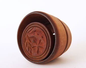 Vintage Wooden Butter Mold - Handmade Butter Press Mold - With Wheat & Flower Pattern