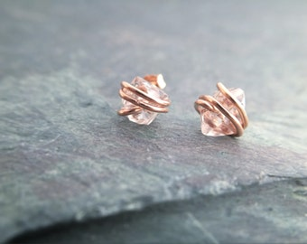 Diamond Studs, Herkimer Diamond Studs, Herkimer Diamond Earrings, Crystal Point Studs, Rose Gold Quartz Earrings, Rose Gold Stud Earrings