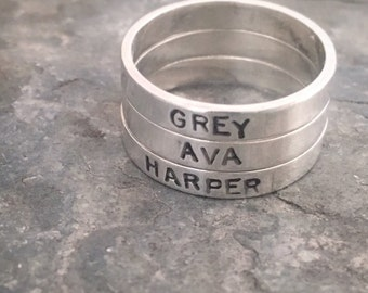Name Rings, Custom Rings, Personalized Rings, Stackable Rings, Stacking Rings, Silver Name Rings, Stacker Rings, Mom Ring