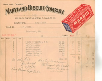 Vintage Billhead, Maryland Biscuit Company, Baltimore, Maryland, 1924