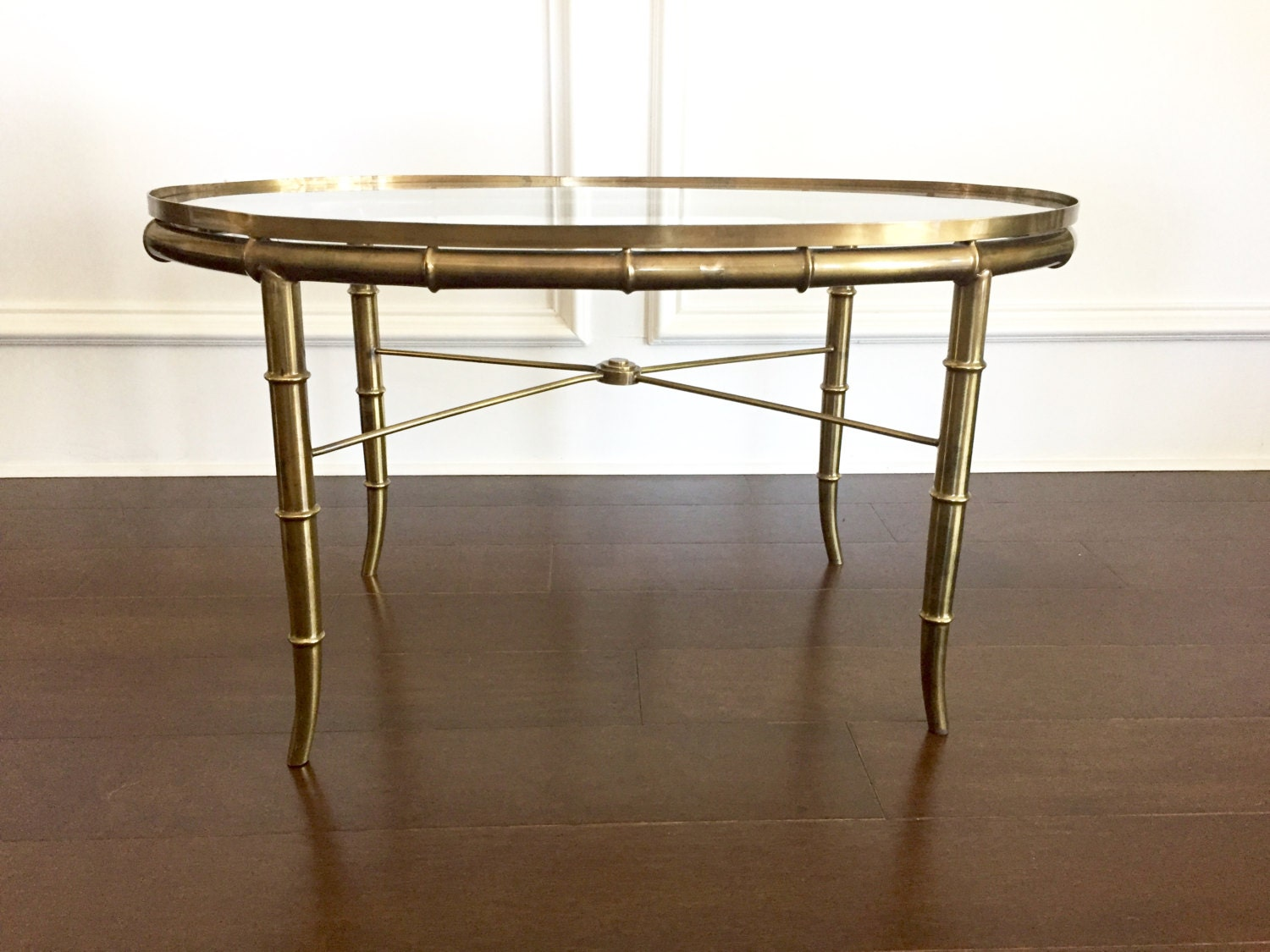 Vintage Brass Faux Bamboo Coffee Table With Glass Top Oval
