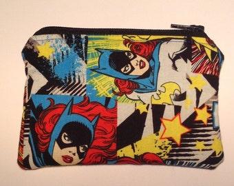 Handmade cotton coin purse - Batgirl superhero