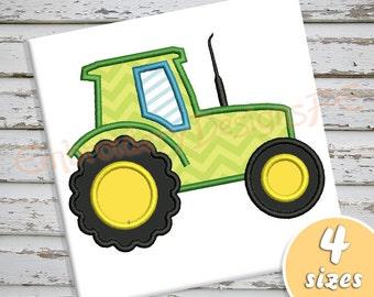 Tractor Applique Design - 4 sizes - Machine Embroidery Design File