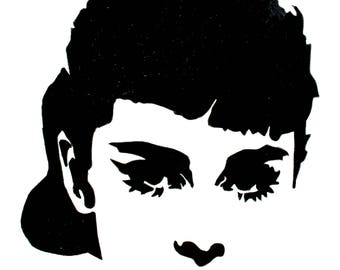 Audrey Hepburn hand-drawn drawing / painting