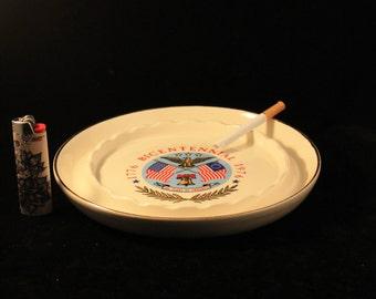 Vintage Ashtray Bicentennial 1976 Porcelain or Ceramic Eagle Liberty Bell Flag Ashtray Gold Trim Cigarettes Cigars Tobacco Smoker Gift 4July