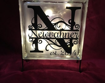Monogram Initial Glass Block with Battery Operated LED lights