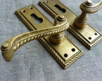 Antique Solid Brass Door Handle / Antique Cabinet Door handle / door handle / door knobs handle / Art Nouveau / Architectural Salvage