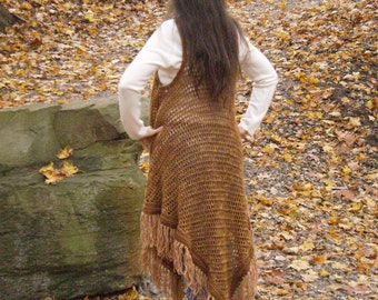 Long HIPPIE VEST Crochet Pattern PDF File One Size Fits Most