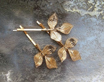 SET | 2 Woodland Gold Leaf Hairpins | Leaf & Twig Bobby Pins | Gold Branch Hair Pins | Rustic Nature Hair Jewelry | Leaf Hair Accessories