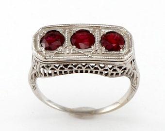 Antique Art Deco Ruby Filigree Ring
