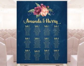 Marsala Seating Chart Sign / Burgundy Peony Berry Bouquet, Peach Blush Pink Ranunculus Seating Sign ▷ Printable File {or} Printed & Shipped