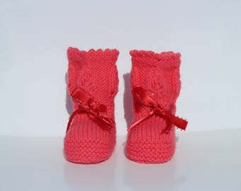 Bright Pink Booties Baby Girl Booties New Baby Gift Baby Shower Gift Hand Knit Booties Lacy Booties Baby Girl Shoes Baptism Christening