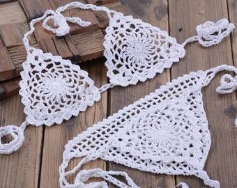 Crochet Bikini Set Swimwear Brazilian Bottom Two Piece Swimsuit Women Girl Summer Beachwear White Lace Bikini