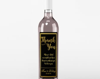 Wedding Wine Label - To Mom and Dad - Personalized Wine Label - Wedding Wine Bottle Label - Black and Gold - Thank You Wine Labels