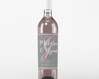 Monogram Wedding Wine Label - Custom Wine Label - Personalized Wine Label - Wedding Wine Bottle Label - Wedding Decor - Wine Labels