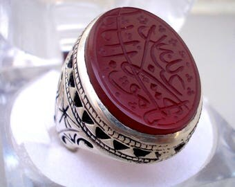 Islamic Amulet Rings / Blood Red Carnelian Yameni Aqeeq Men Ring in 925 Sterling Silver Handmade Elegant Design , SHia Sufi / Healing Ring
