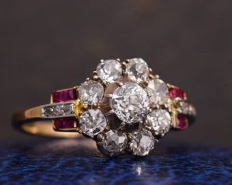 Art Deco .75ct Old Cut Diamond & Ruby Cluster Ring, c1920