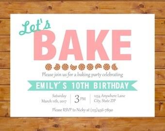 Baking Party Invitation - Baking Birthday Invitation - Girl Birthday Party - Printable, Custom, Digital File