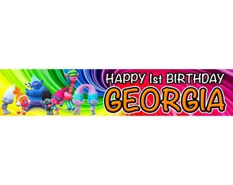 2 x Trolls Personalised Birthday Banner, custom, party,