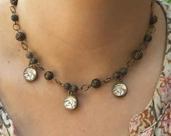 Brown Choker Necklace, Cameo Necklace, Brown Jewelry, Cameo Necklace, Australian Made, Statement Necklace, Glass Dome Necklace, Gift for her