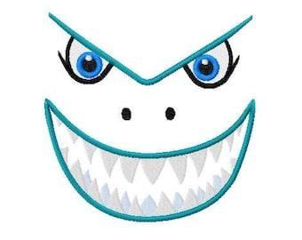 Shark Face Embroidery Applique Design