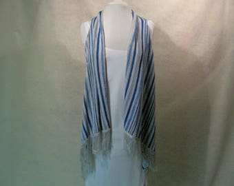 Boho Duster, Fringed Vest, Waterfall Tunic, Blue and White Cover Up, Blue and White Striped Wrap, Waterfall Vest