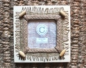 """Wooden Photo Frame, Wooden Picture Frame, Hessian /Jute with Wood Toggles, Cream, 4"""" Square Photo, 6 3/4"""" Square Frame,Hand Painted, Remade."""