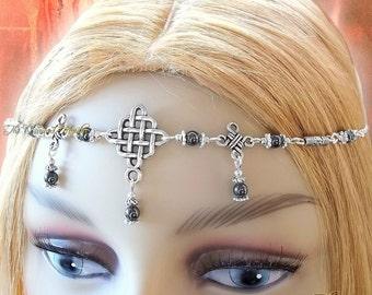 Hematite Celtic Circlet, Medieval Headdress, Pagan Circlet, Druid, Renaissance, Headchain, Headpiece, Reenactment, Cosplay, Larp, Ceremony