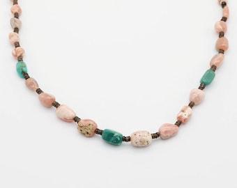 native american jewelry,santo domingo,santo domingo jewelry,turquoise,turquoise necklace, Santo Domingo Rhodochrosite & Turquoise Necklace