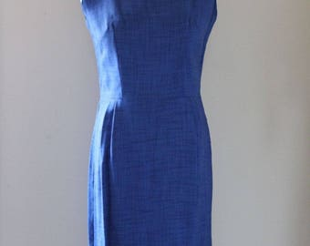 1940s 40s Vintage Blue Linen Sheath Dress Size Medium M