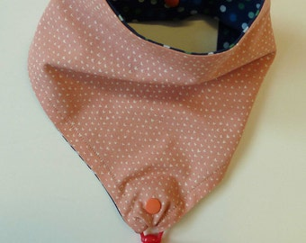 Pink Binky Bib with Hearts, Pacifier Bib, Baby Girl Binky Bib, Drool Bib, Baby Shower Gift, New Baby Gift