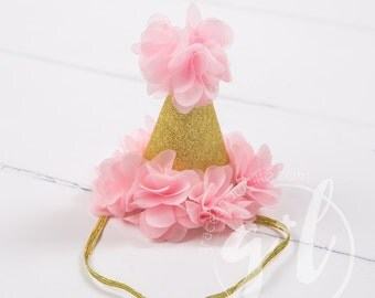 Pink and gold Birthday Hat, First Birthday Hat, Party Hat
