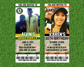 Digital file only - personalized party invitation ticket (baseball/mlb themed)