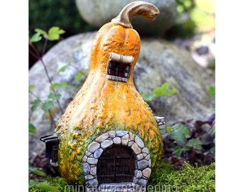 Gourd Fairy House with Light for Miniature Garden, Fairy Garden