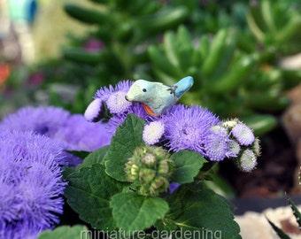 Tiny Bunting Bird Pick for Miniature Garden, Fairy Garden