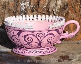 Wonderland Tea Cup Planter, Pink for Miniature Garden, Fairy Garden