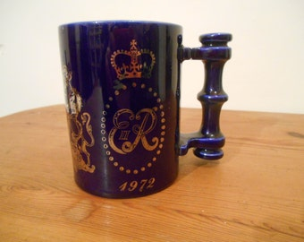 Portmeirion Mug, British Royal Commemorative Mug 1970s, Queen Elizabeth Cup