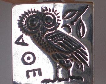 For Sale Owl of Wisdom Small Silver Pendant Goddess Athena Symbol