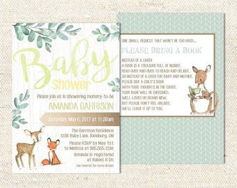 Baby Shower Invitation - Woodland Animals | DIGITAL FILE