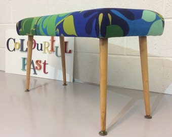 Mid-century stool / bench upholstered in fabulous vintage Heals fabric