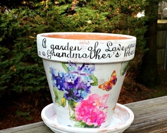 Painted clay pot, Grandmother's gift, hydrangeas and butterfly,decoupage, flower planter for Grandma,painted terracotta, Mother's Day gift.