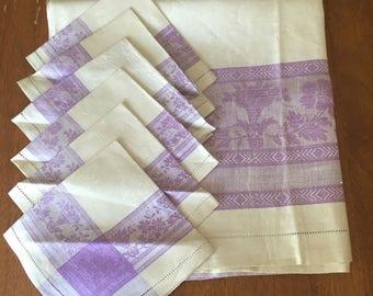 Damask Tablecloth and Matching Napkins