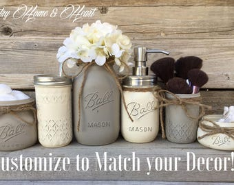Rustic Bathroom Decor Farmhouse Bathroom Decor Mason Jar