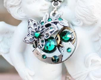 Steampunk necklace, butterfly necklace, steampunk jewelry, swarovski necklace