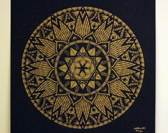 """Mandala Art Print Signed Limited Edition Gold On Black Paper """"Diffeomorphism"""" Sacred Geometry Zentangle Decoration Poster"""